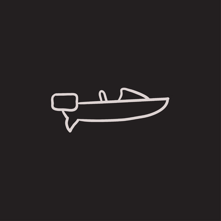 motorboat: Motorboat vector sketch icon isolated on background. Hand drawn Motorboat icon. Motorboat sketch icon for infographic, website or app. Illustration