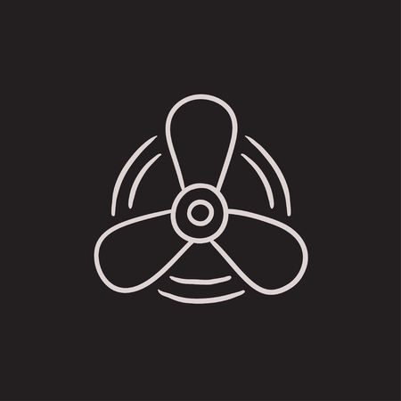 prop: Boat propeller vector sketch icon isolated on background. Hand drawn Boat propeller icon. Boat propeller sketch icon for infographic, website or app.