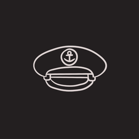 captain cap: Captain peaked cap vector sketch icon isolated on background. Hand drawn Captain peaked cap icon. Captain peaked cap sketch icon for infographic, website or app. Illustration