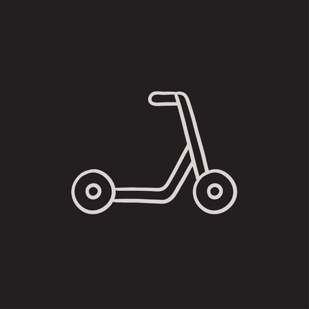 handlebar: Kick scooter vector sketch icon isolated on background. Hand drawn Kick scooter icon. Kick scooter sketch icon for infographic, website or app. Illustration