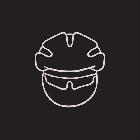 protector: Man in bicycle helmet and glasses vector sketch icon isolated on background. Hand drawn Man in bicycle helmet and glasses icon. Man in bicycle helmet sketch icon for infographic, website or app.
