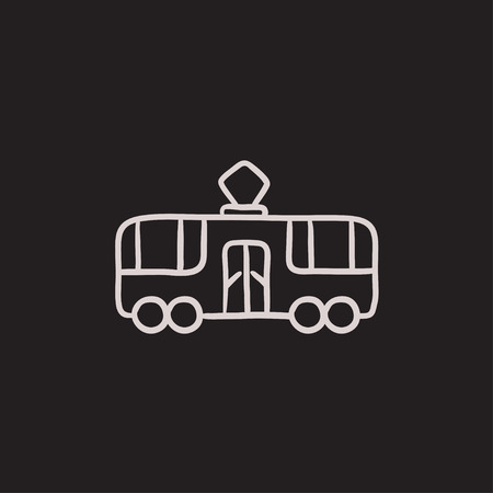 Tram vector sketch icon isolated on background. Hand drawn Tram icon. Tram sketch icon for infographic, website or app. 向量圖像