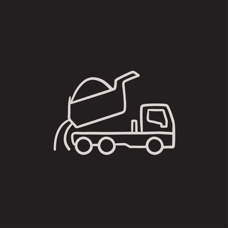 quicksand: Dump truck vector sketch icon isolated on background. Hand drawn Dump truck icon. Dump truck sketch icon for infographic, website or app. Illustration