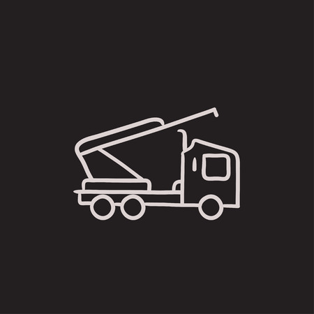 hydraulic platform: Machine with crane and cradles vector sketch icon isolated on background. Hand drawn Machine with crane and cradles icon. Machine with crane and cradles sketch icon for infographic, website or app.