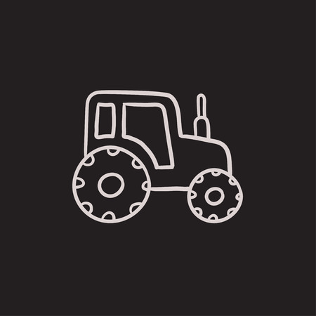 agrarian: Tractor vector sketch icon isolated on background. Hand drawn Tractor icon. Tractor sketch icon for infographic, website or app.