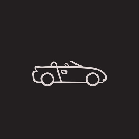 Convertible car vector sketch icon isolated on background. Hand drawn Convertible car icon. Convertible car sketch icon for infographic, website or app.
