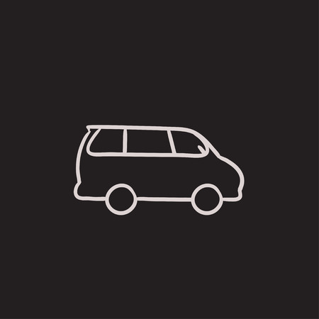 minivan: Minivan vector sketch icon isolated on background. Hand drawn Minivan icon. Minivan sketch icon for infographic, website or app.