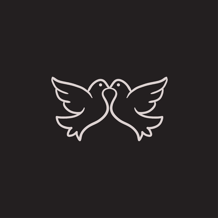 Boda palomas dibujo icono del vector aislado en el fondo. Dibujado a mano icono de Palomas de la boda. Palomas de la boda icono de boceto para la infografía, sitio web o aplicación.