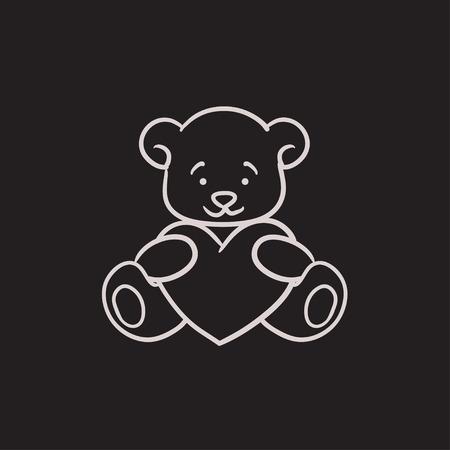Teddy bear avec le vecteur de coeur icône croquis isolé sur fond. Hand drawn ours en peluche avec coeur icône. Teddy bear avec croquis coeur icône infographie, site Web ou application. Vecteurs
