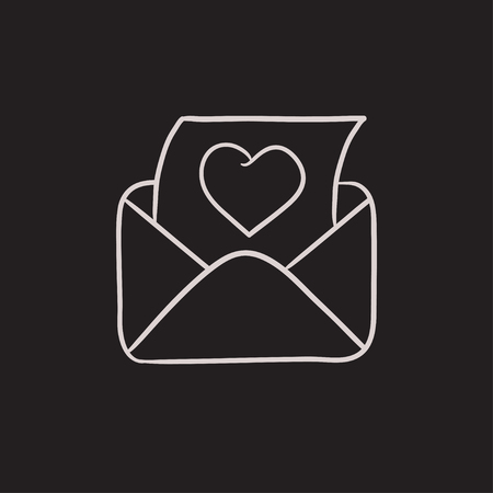 open envelope: Open envelope with heart vector sketch icon isolated on background. Hand drawn Open envelope with heart icon. Open envelope with heart sketch icon for infographic, website or app.