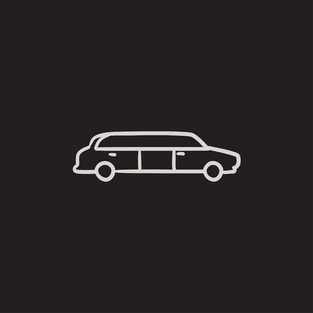 limousine: Wedding limousine vector sketch icon isolated on background. Hand drawn Wedding limousine icon. Wedding limousine sketch icon for infographic, website or app.