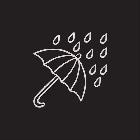 torrential: Rain and umbrella vector sketch icon isolated on background. Hand drawn Rain and umbrella icon. Rain and umbrella sketch icon for infographic, website or app. Illustration