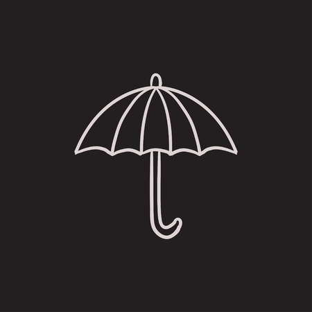 outdoor glamour: Umbrella vector sketch icon isolated on background. Hand drawn Umbrella icon. Umbrella sketch icon for infographic, website or app.