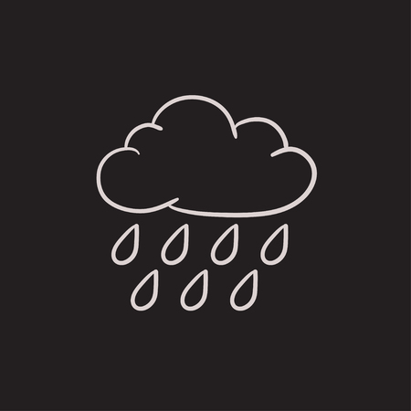 storm clouds: Cloud and rain vector sketch icon isolated on background. Hand drawn Cloud and rain icon. Cloud and rain sketch icon for infographic, website or app.