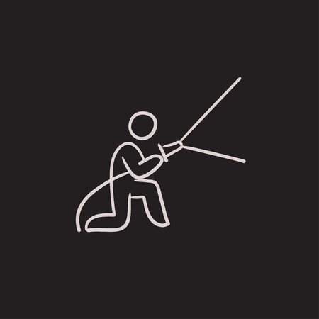 dangerous work: Fireman spraying water vector sketch icon isolated on background. Hand drawn Fireman spraying water icon. Fireman spraying water sketch icon for infographic, website or app.