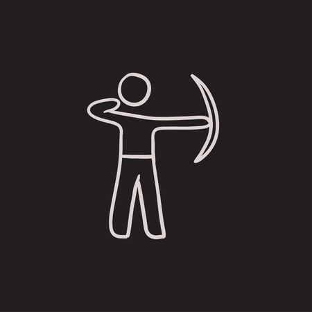 Archer training with bow vector sketch icon isolated on background. Hand drawn Archer training with bow icon. Archer training with bow sketch icon for infographic, website or app. 向量圖像