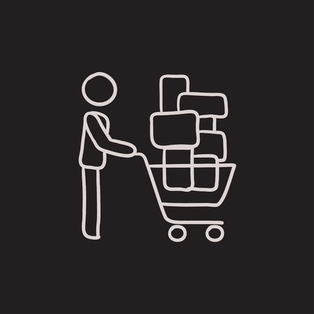 장바구니를 추진하는 사람 (남자). 벡터 스케치 아이콘 배경에 고립. 손으로 그린 쇼핑 카트 아이콘을 추진하는 사람. infographic, 웹 사이트 또는 응