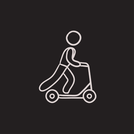 Man riding kick scooter vector sketch icon isolated on background. Hand drawn Man riding kick scooter icon. Man riding kick scooter sketch icon for infographic, website or app.