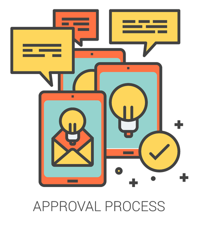 approval icon: Approval process infographic metaphor with line icons. project approval process concept for website and infographics. Vector line art icon isolated on white background.