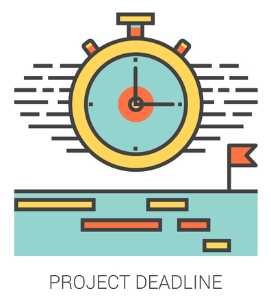 Project deadline infographic metaphor with line icons. Project deadline concept for website and infographics. Vector line art icon isolated on white background. Ilustração