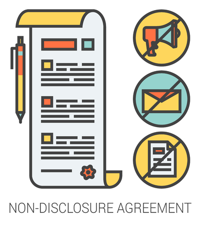 confidentiality: Non-disclosure agreement infographic metaphor with line icons. Non-disclosure project agreement concept for website and infographics. Vector line art icon isolated on white background.