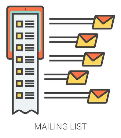 메일 링리스트 infographic metaphor with line icons. 웹 사이트 및 infographics 프로젝트 메일 링리스트 개념. 흰색 배경에 고립 된 벡터 라인 아트 아이콘입니다.