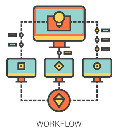 workflow: Workflow infographic metaphor with line icons. Project workflow concept for website and infographics. Vector line art icon isolated on white background.