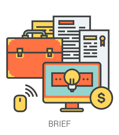 brief: Brief infographic metaphor with line icons. Project brief concept for website and infographics. Vector line art icon isolated on white background.