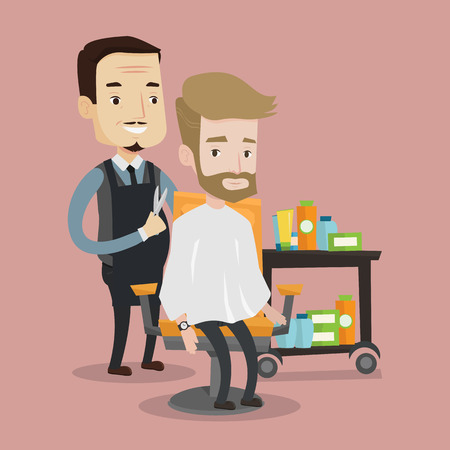 male grooming: Barber cutting hair of young hipster man with beard at barbershop. Professional hairdresser making haircut to a client with scissors in beauty saloon. Vector flat design illustration. Square layout.