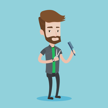 male grooming: Full length of young hipster barber with beard holding comb and scissors in hands on a blue background. Professional hairdresser ready to do a haircut. Vector flat design illustration. Square layout.