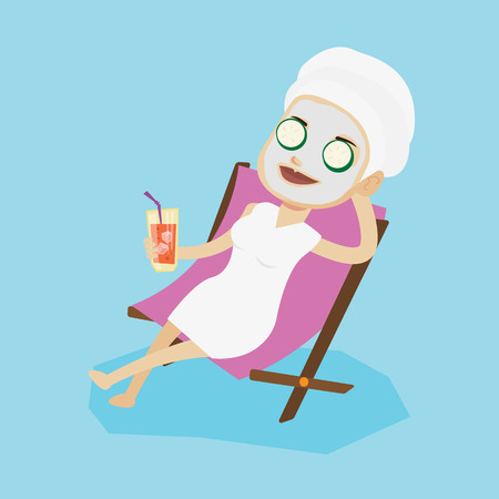 chaise lounge: Woman with face mask and towel on her head lying in chaise lounge and drinking cocktail. Woman relaxing in beauty salon. Girl having beauty treatments. Vector flat design illustration. Square layout.