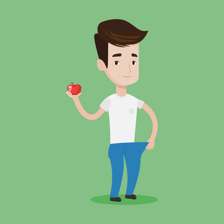 Young happy man in oversized trousers holding an apple in hand. Slim man showing the results of his diet. Concept of dieting and healthy lifestyle. Vector flat design illustration. Square layout.