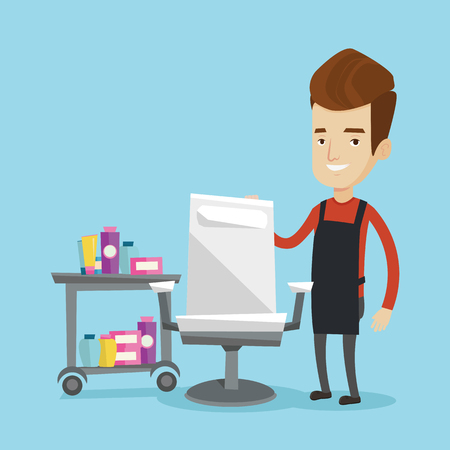 male grooming: Young caucasian barber standing near armchair and table with cosmetics in barber shop. Professional hairdresser standing at workplace in beauty saloon. Vector flat design illustration. Square layout.