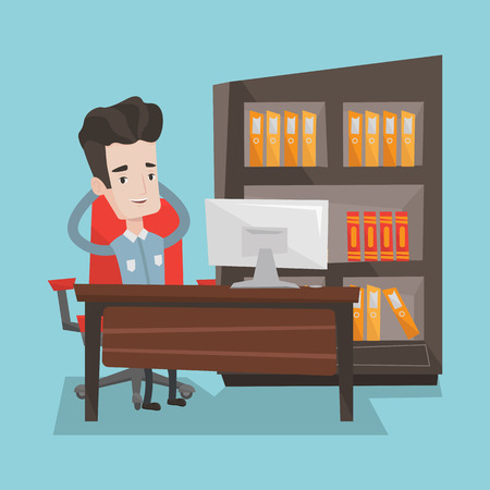 recline: Satisfied businessman sitting at workplace in the office. Young successful businessman relaxing in the office with his hands clasped behind his head. Vector flat design illustration. Square layout. Illustration