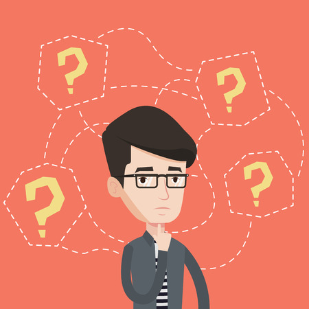 businessman thinking: Depressed businessman standing under question marks. Young caucasian businessman thinking. Thoughtful businessman surrounded by many question marks. Vector flat design illustration. Square layout. Illustration