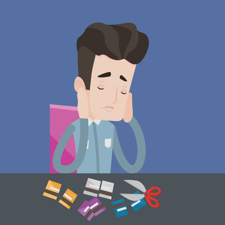 bankruptcy: Young caucasian businessman cutting his credit card. Depressed businessman sitting at desk and cutting credit card with scissors. Concept of bankruptcy. Vector flat design illustration. Square layout. Illustration