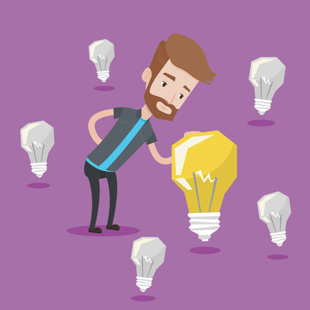 brightest: A hipster man with the beard having business idea. Young caucasian businessman standing among unlit light bulbs and looking at the brightest light bulb. Vector flat design illustration. Square layout. Illustration
