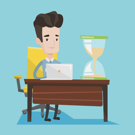 coping: Businessman sitting at the table with hourglass on it. Worker coping with deadline successfully. Businessman working on laptop. Time management concept. Vector flat design illustration. Square layout. Illustration