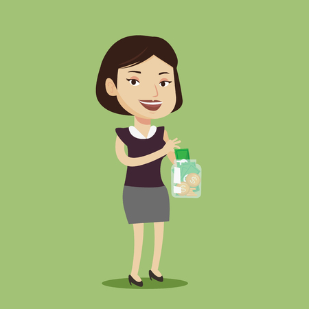 woman holding money: Happy caucasian business woman holding money jar with coins and banknotes. Young business woman putting dollar money into glass jar. Vector flat design illustration. Square layout. Illustration
