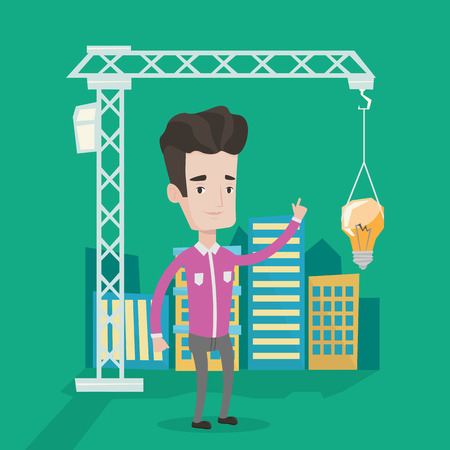 town planning: Man standing on the background of construction site and pointing at light bulb hanging on crane. Concept of new ideas in town planning and architecture. Vector flat design illustration. Square layout.