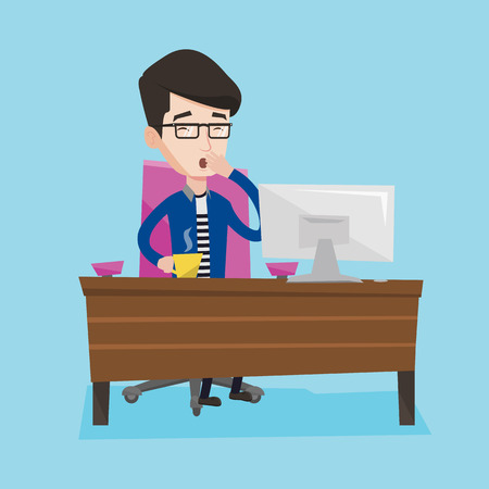 Sleepy tired businessman holding a cup and yawning while working in office. Exhausted young businessman yawning and drinking coffee at work in office. Vector flat design illustration. Square layout.