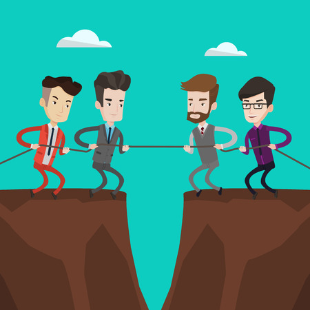 disagreement: Two groups of business people pulling rope on cliff. Concept of teamwork and competition in business. Confrontation between two groups of business people. Vector flat design illustration.Square layout