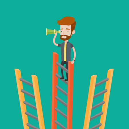 looking for: A hipster man with the beard standing on the top of a ladder and looking through spyglass. Young businessman looking for opportunities for business. Vector flat design illustration. Square layout. Illustration