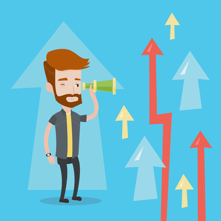 A hipster businessman looking through spyglass on arrows going upward. Young businessman looking for business opportunities. Concept of business vision. Vector flat design illustration. Square layout. Illustration