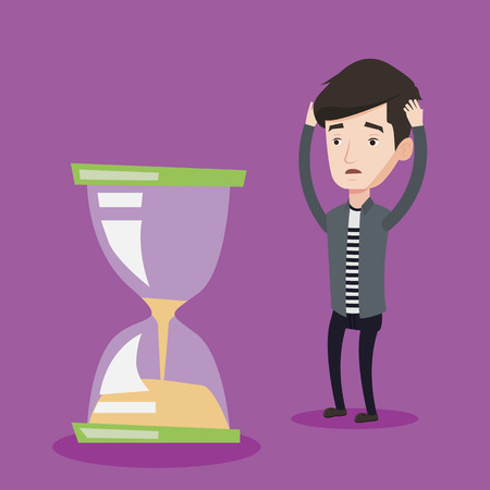 Desperate caucasian businessman looking at hourglass. Young stressed businessman worrying about deadline terms. Concept of time management and deadline. Vector flat design illustration. Square layout. Illustration