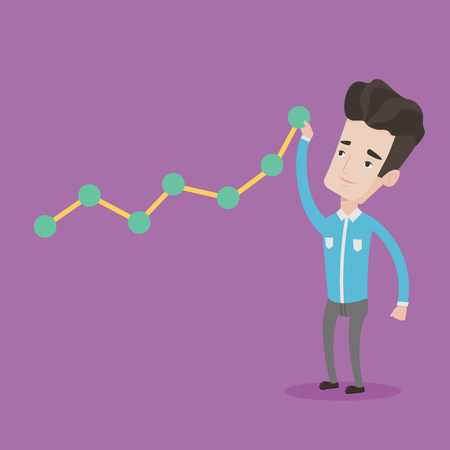 lift up: Young businessman looking at chart going up. Businessman lifting a chart. Businessman pulling up a graph. Concept of growth and success in business. Vector flat design illustration. Square layout. Illustration