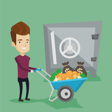 depositing: Rich smiling businessman depositing his money in bank in the safe. Cheerful businessman pushing wheelbarrow full of money on the background of big safe. Vector flat design illustration. Square layout.