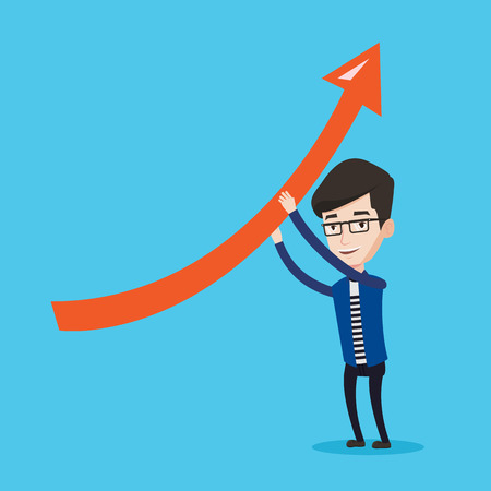 Young businessman holding arrow going up. Successful businessman with growth graph. Businessman changing the path of an arrow to a positive increase. Vector flat design illustration. Square layout. Illustration
