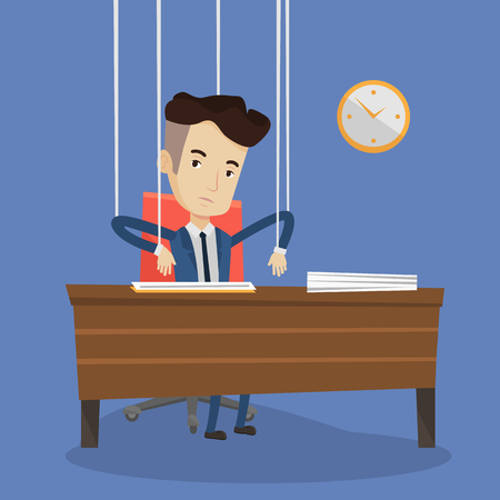 puppeteer: Caucasian businessman hanging on strings like a puppet. Young businessman marionette on ropes sitting at the table in office. Emotionless man working. Vector flat design illustration. Square layout.