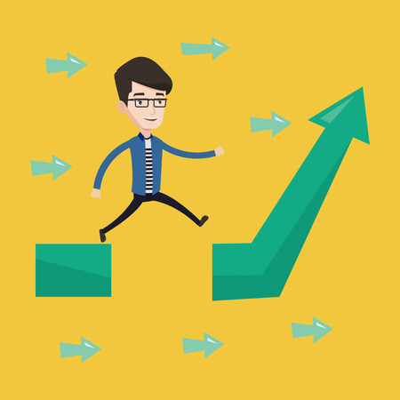 happy businessman: Happy businessman running on arrow going up. Businessman running on ascending graph and jumping over gap. Business growth and business solutions concept. Vector flat design illustration. Square layout